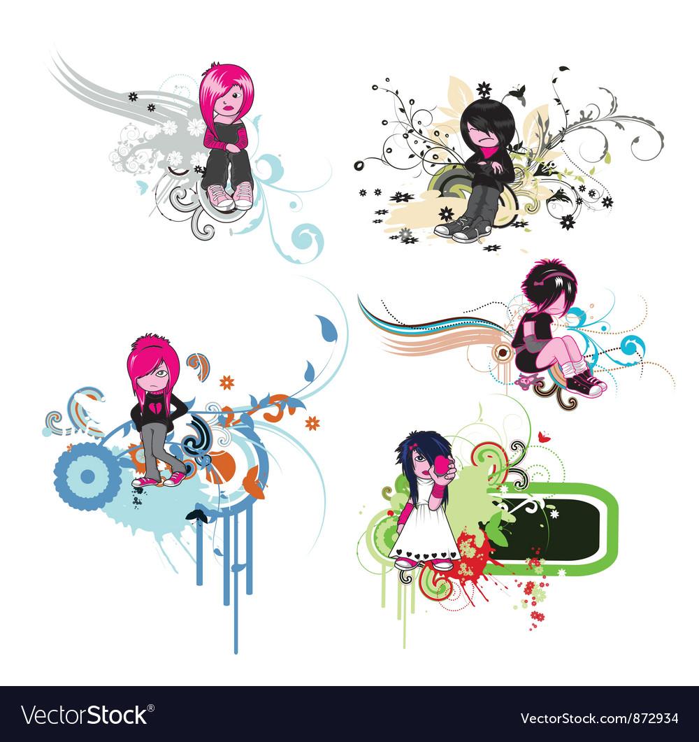 Floral frames with emo kids vector image