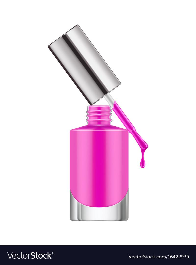 Realistic nail polish bottle vector image