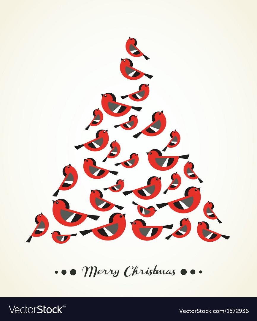 retro christmas card birds on christmas tree vector image - Retro Christmas Tree