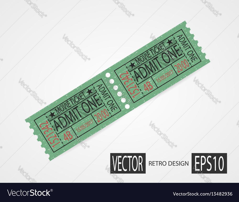 Retro cinema tickets design green vector image