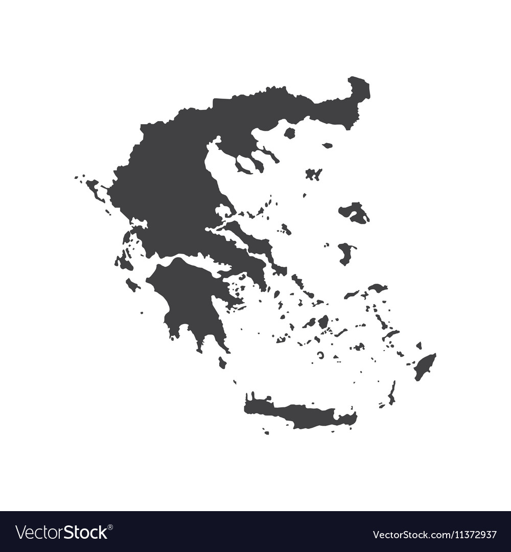 Hellenic Republic map silhouette vector image
