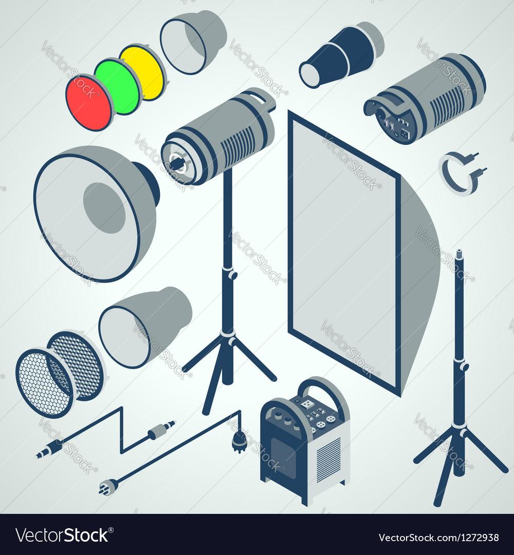 Flash studio professional strobe element set vector image