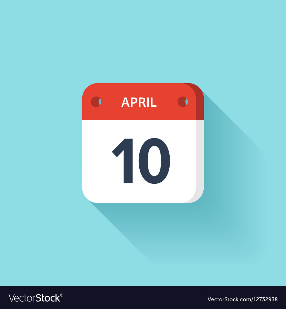 April 10 Isometric Calendar Icon With Shadow vector image