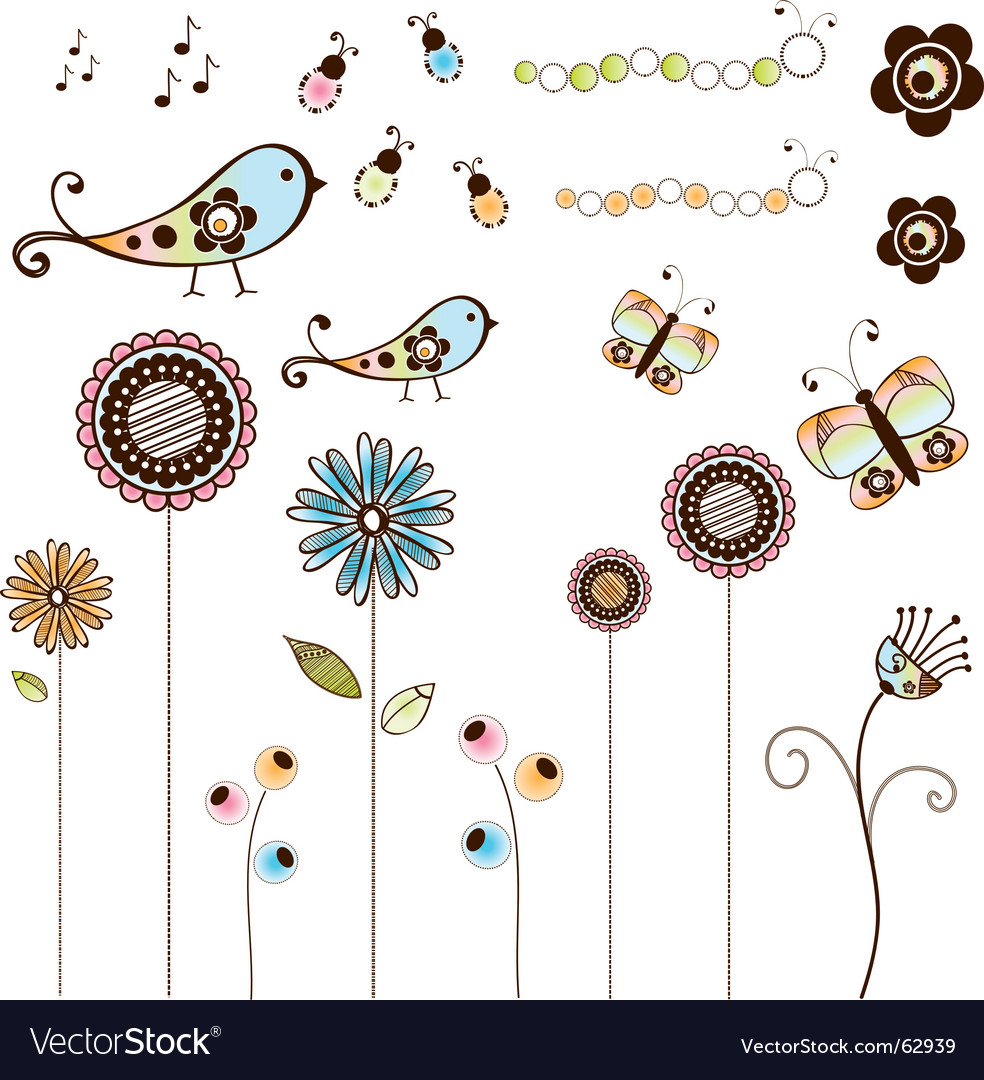 Doodle flowers and bugs set Vector Image