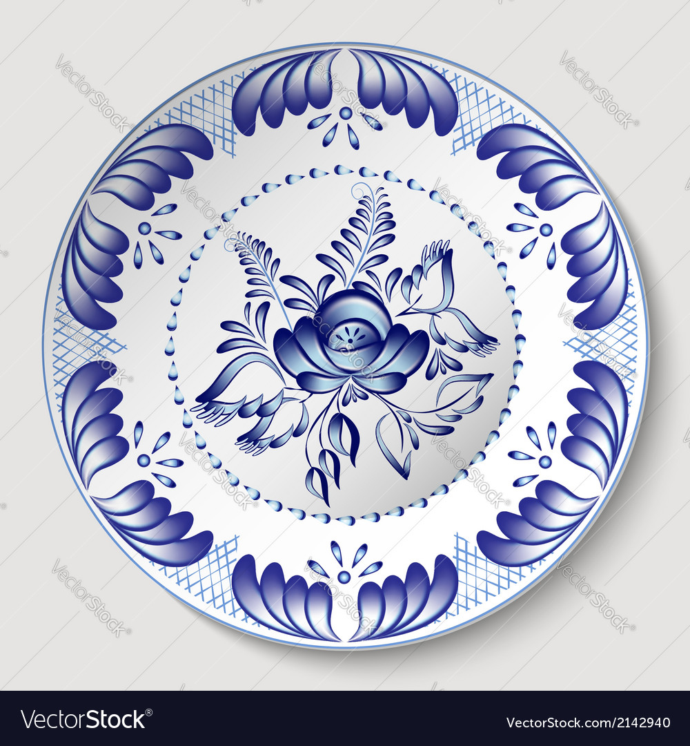 Russian national circular ornament with a rose in vector image