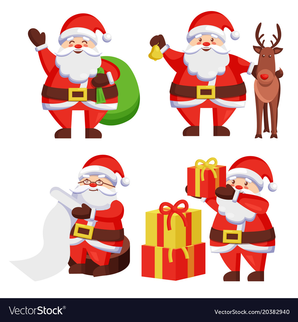 santa claus with presents icon vector image - Santa Claus With Presents