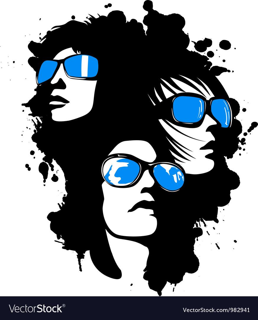 Women wearing sunglasses vector image