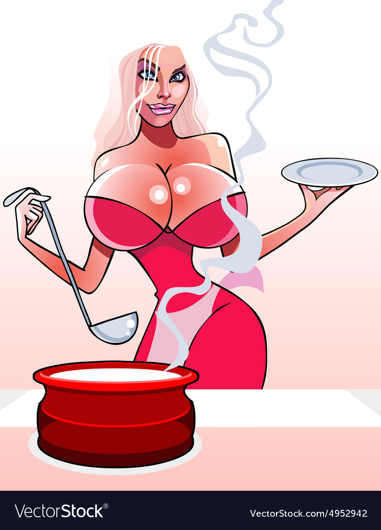 Cartoon sexy woman with a pan and ladle vector image