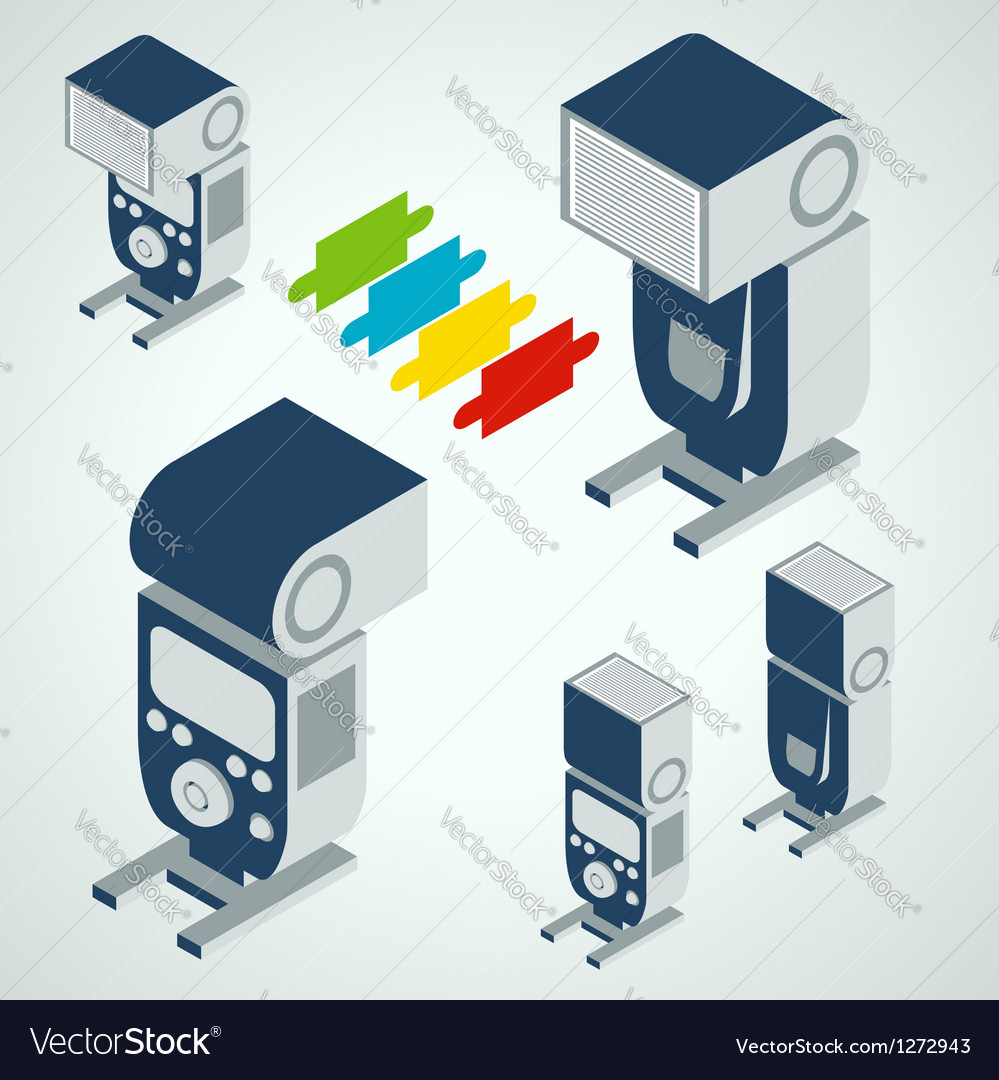 Flash professional camera element set vector image