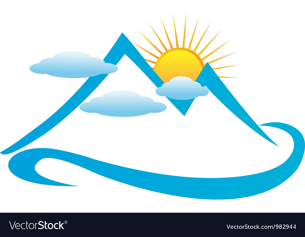 Cloudy mountains logo vector image