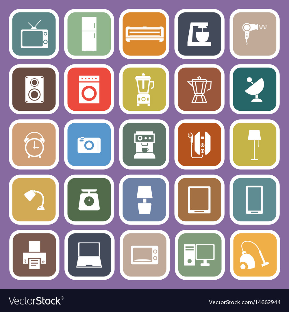 Household flat icons on purple background vector image