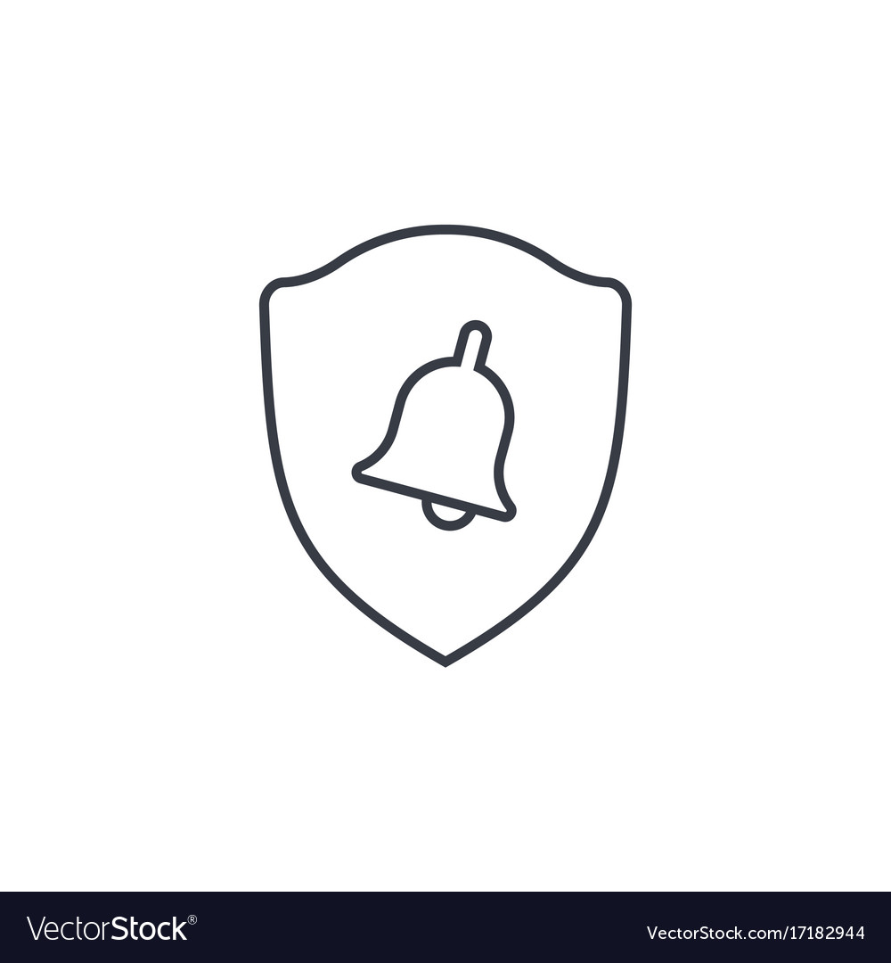 police shield and bell security alert signal thin vector image