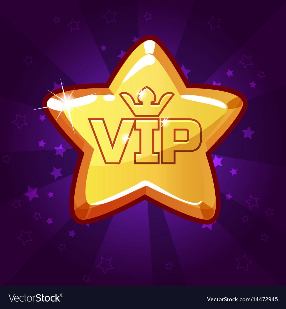 Cartoon vip gold star vector image