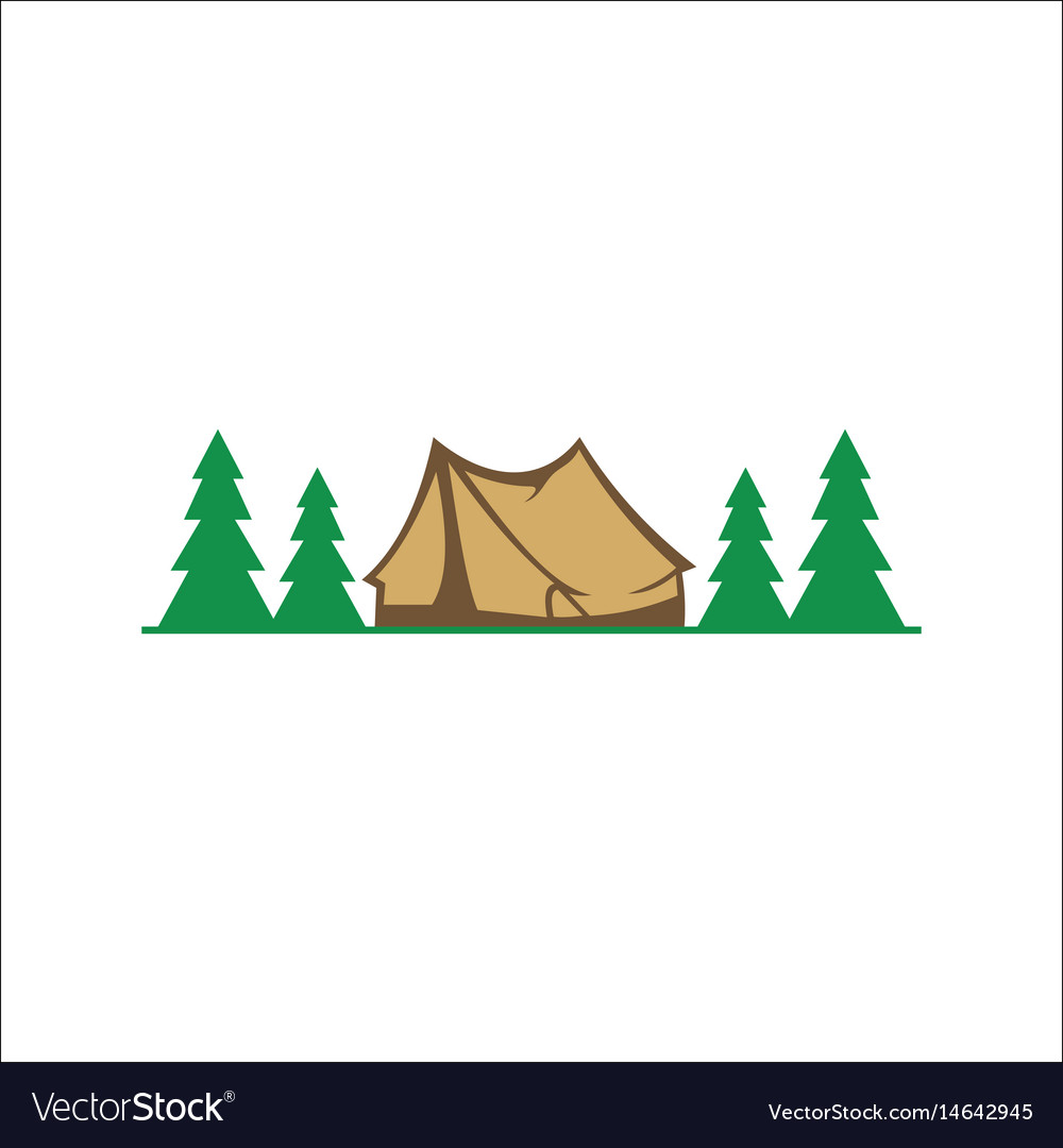 Pine tree camp forest logo vector image