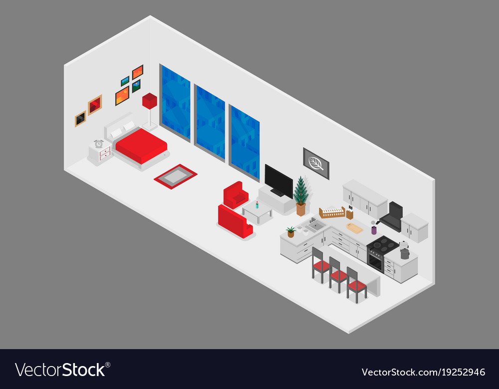 Interior living room with furniture and window and vector image