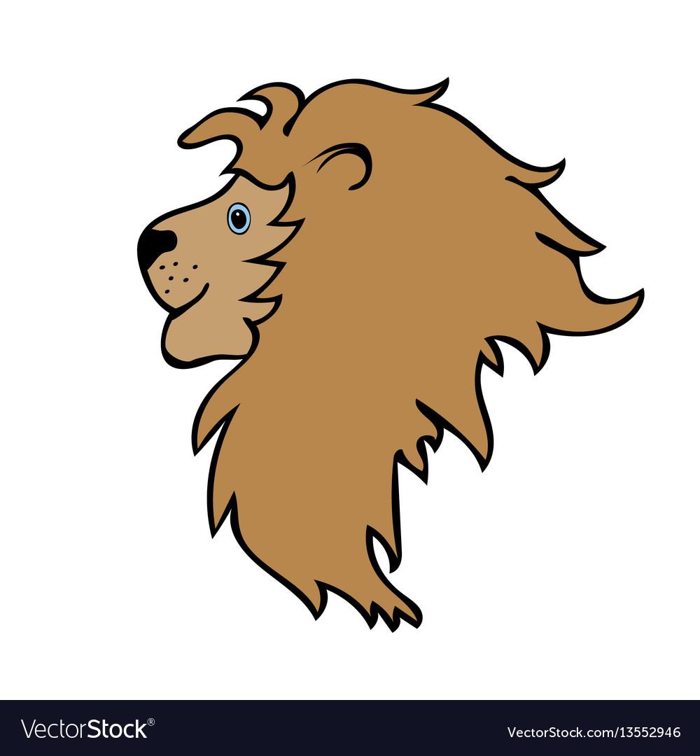Lion cute funny cartoon head vector image