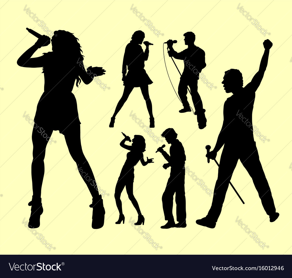 People singing silhouette vector image