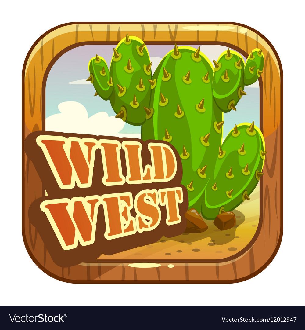 Cartoon app icon with wild west attributes vector image