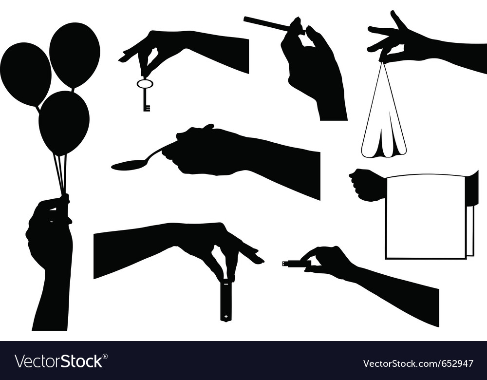 Hands holding a different objects vector image