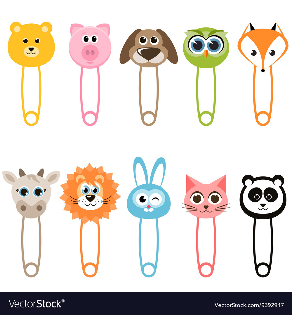 Set of baby animal safety pins vector image