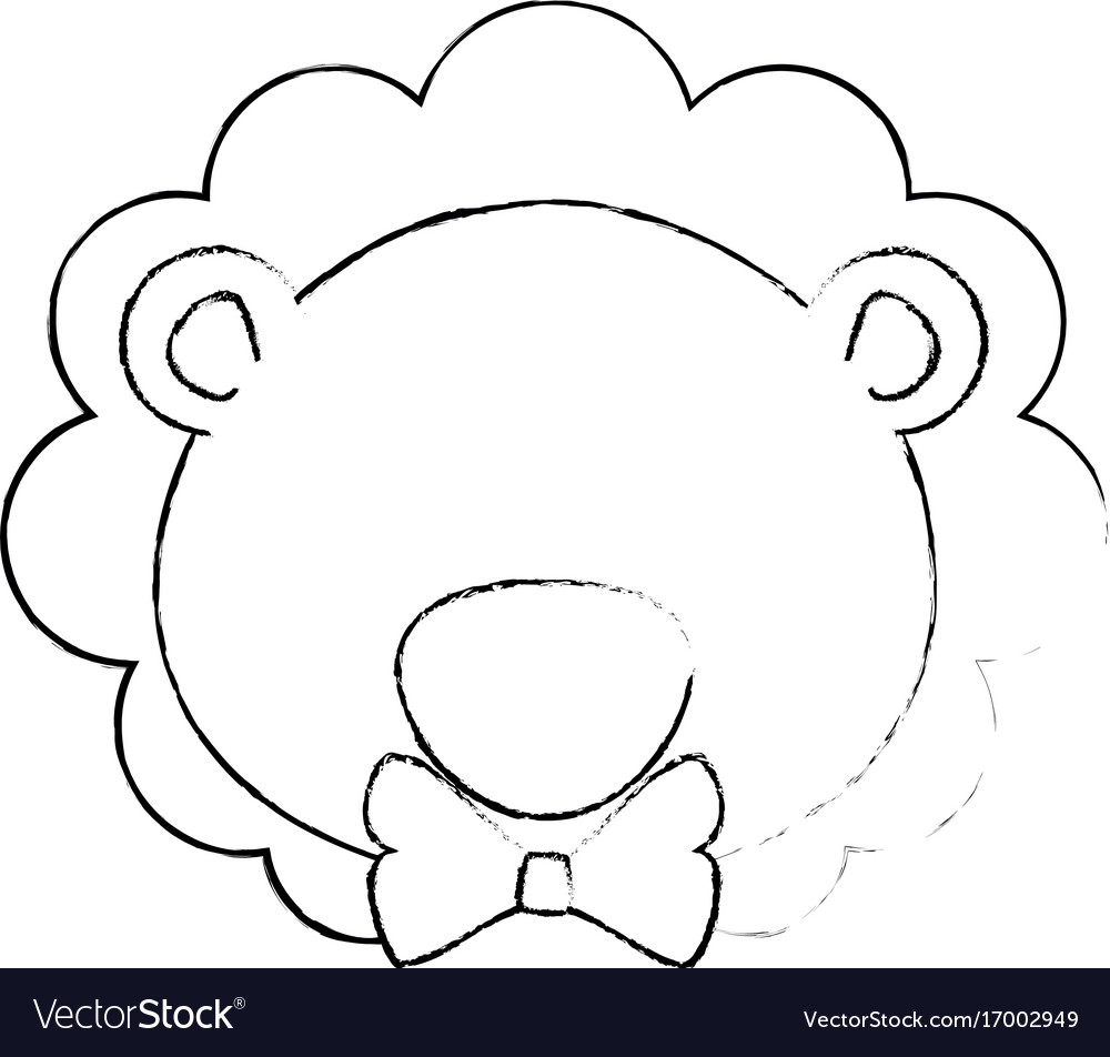 Cartoon lion with bow tie icon vector image