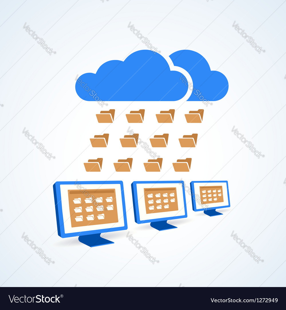 Copmutre desktop pc folder clouds icon vector image