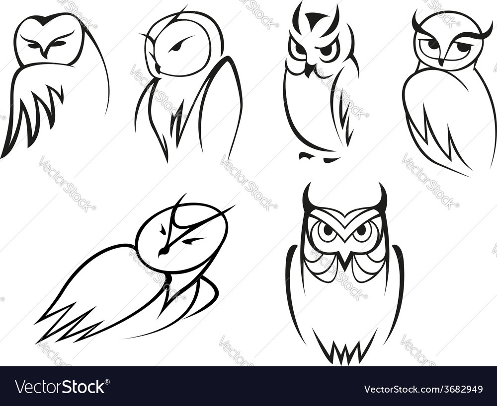 owl bird icons in doodle outline style royalty free vector