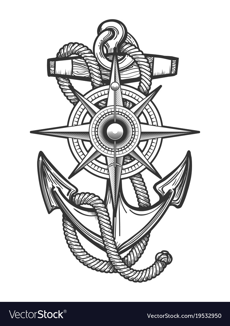 Anchor With Compass Engraving Royalty Free Vector Image