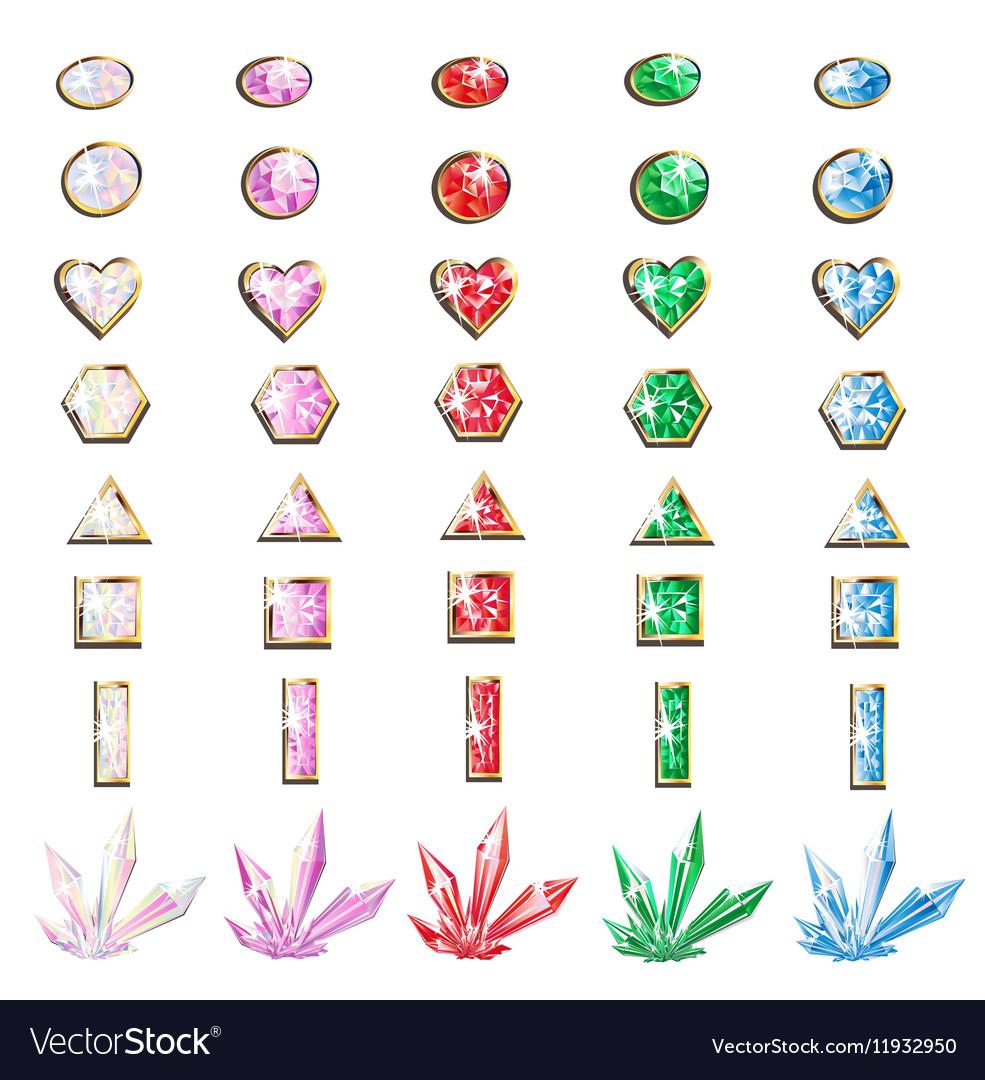 Precious stones and crystals set vector image