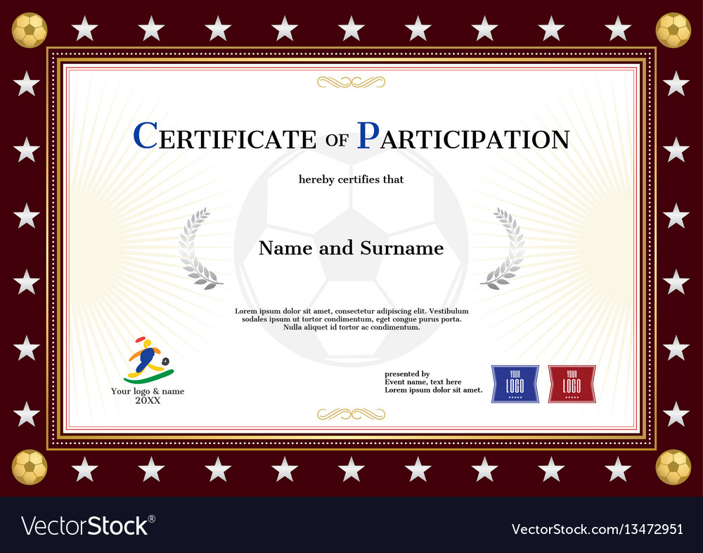 Certificate of participation template in sport vector image certificate of participation template in sport vector image yadclub Images