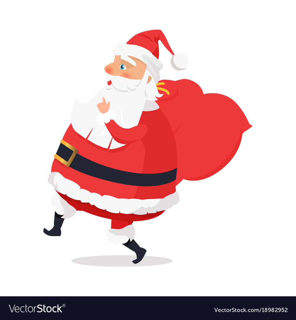 isolated side view santa claus on white background vector image - White Santa Claus