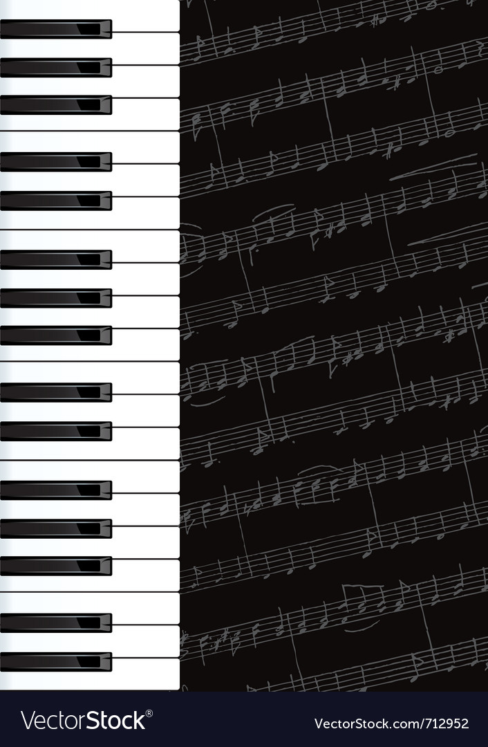Piano keys and notes background vector image