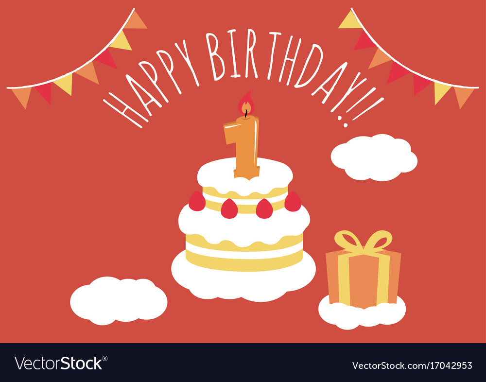 1 year old birthday card royalty free vector image 1 year old birthday card vector image bookmarktalkfo Image collections