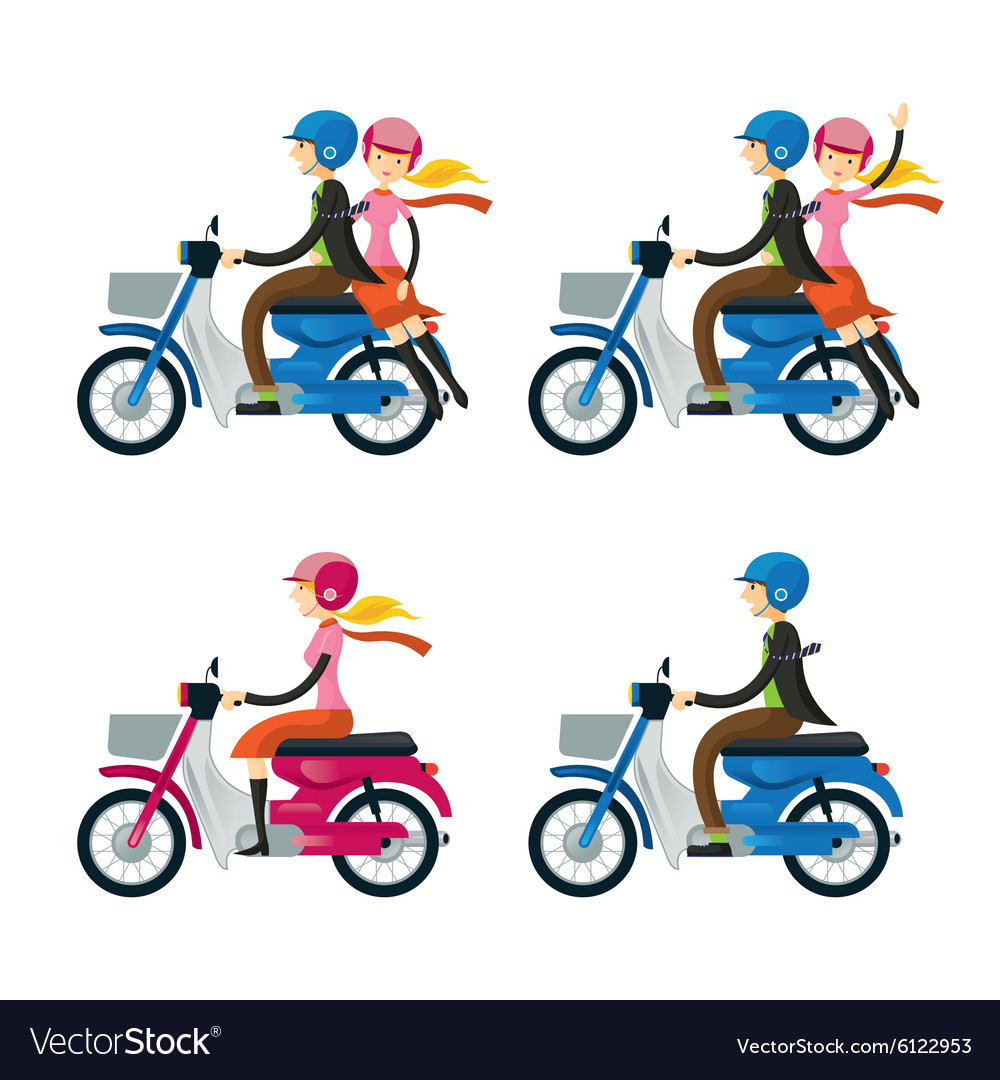 Couple Man Woman Riding Motorcycle vector image
