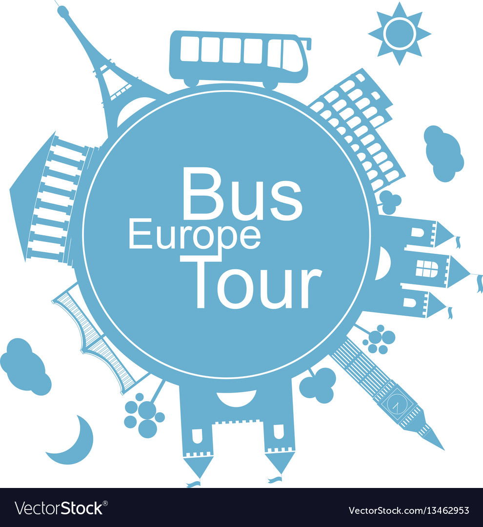 Europe bus tours design icon vector image
