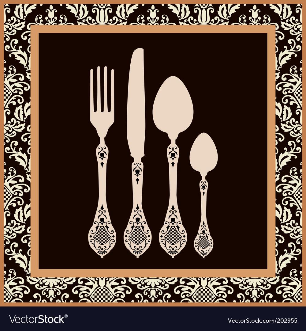 Menu card design with cutlery vector image