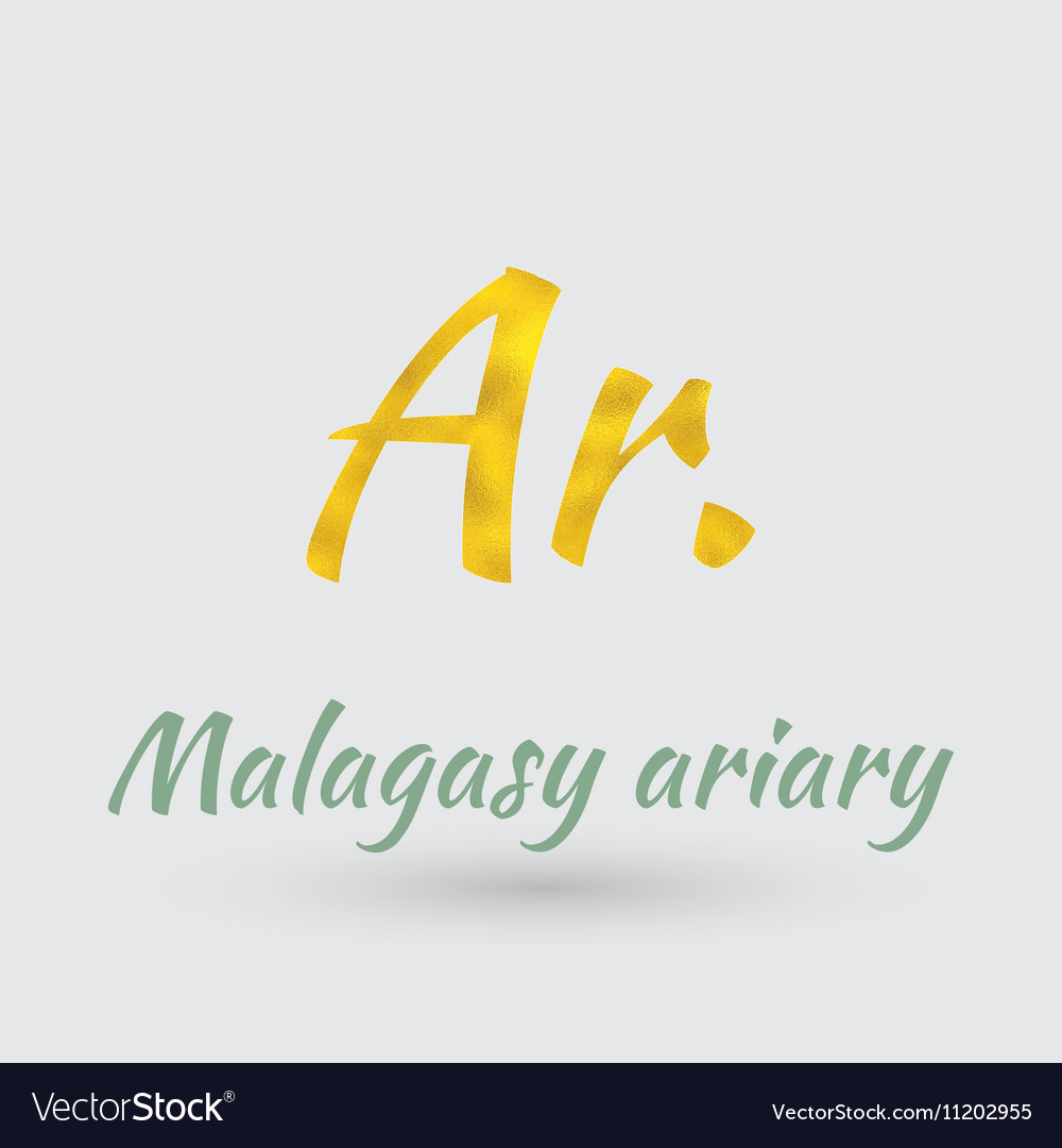 Golden Symbol of the Malagasy ariary vector image