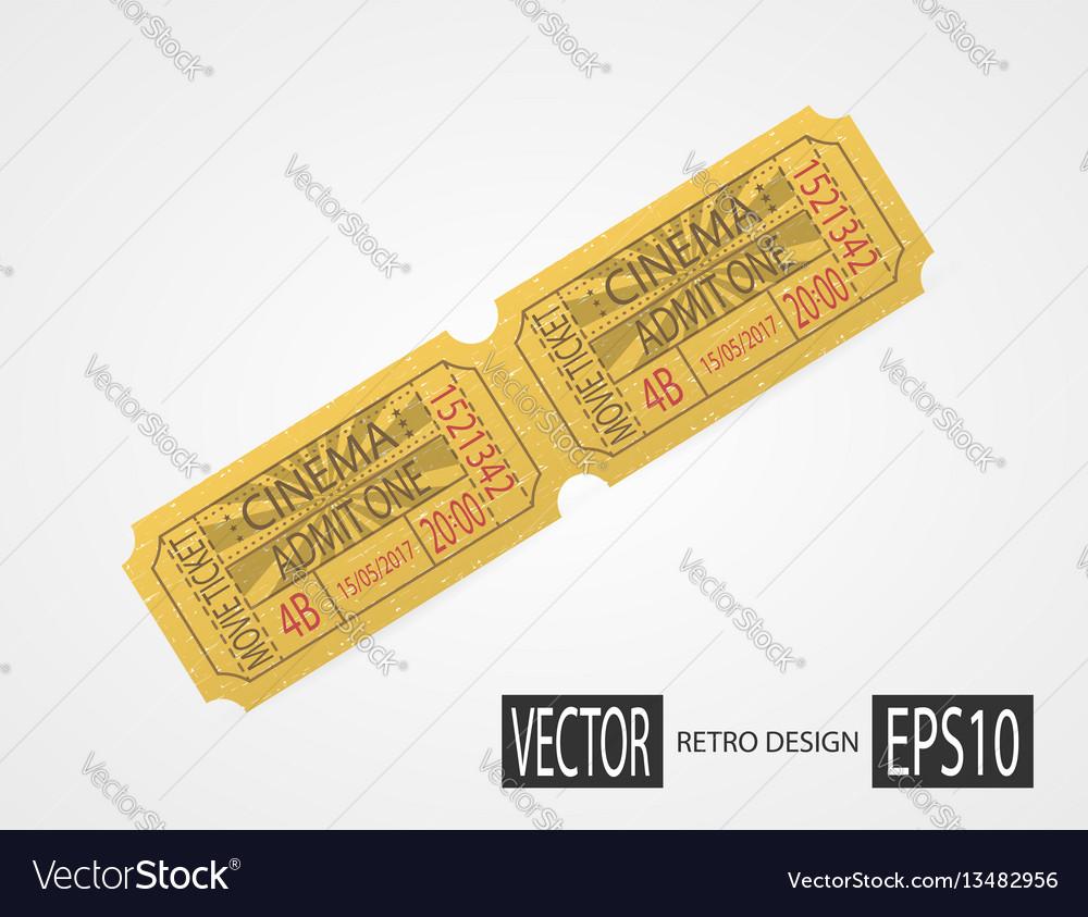 Retro cinema tickets design yellow vector image
