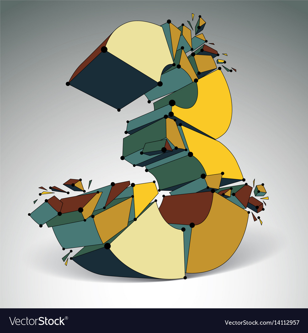 3d low poly colorful number 3 with black vector image