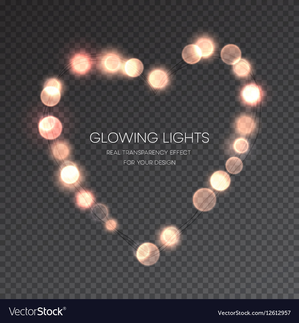 valentines day glowing lights heart on vector image