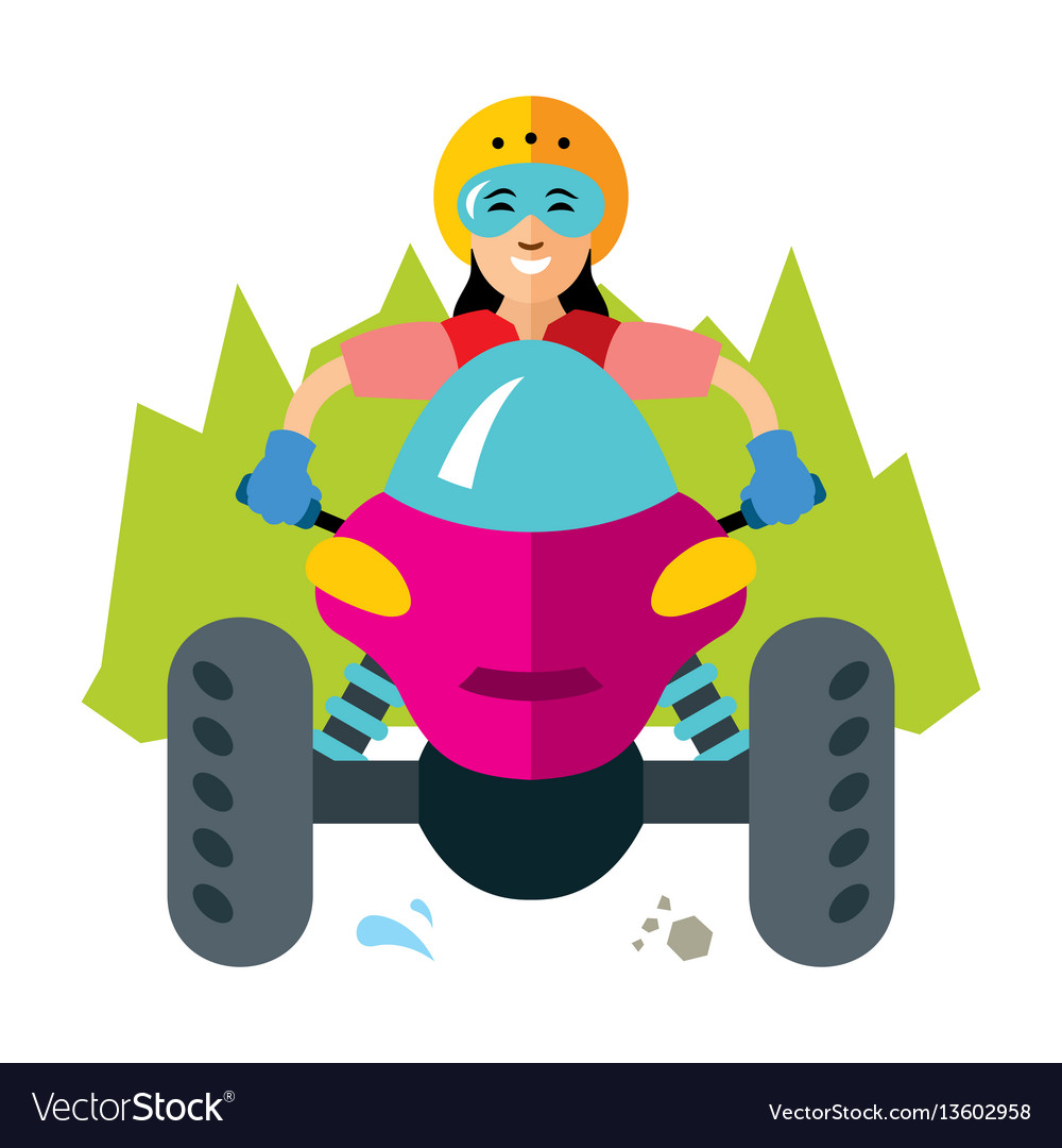 Atv girl flat style colorful cartoon vector image
