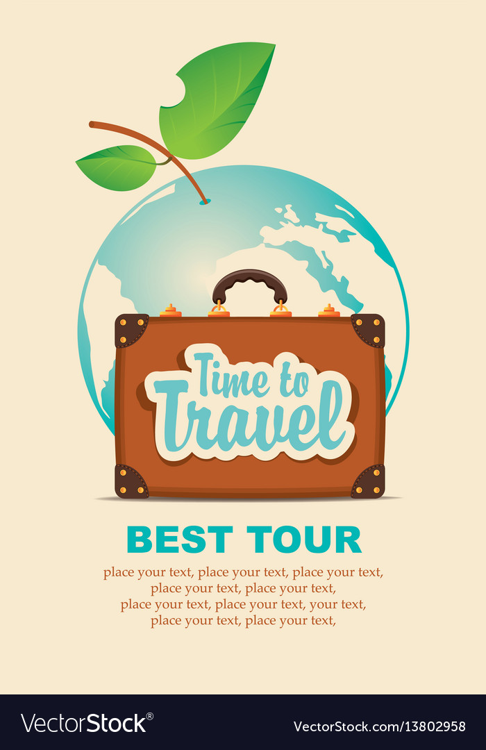 Banner with a travel suitcase and planet earth vector image