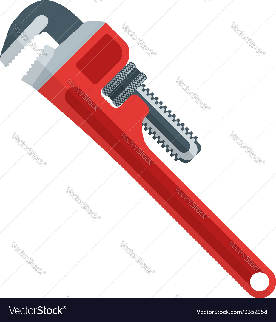 Flat design red pipe wrench vector image