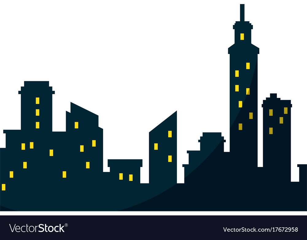 silhouette of city buildings icon royalty free vector image rh vectorstock com vector building icon vector building blocks