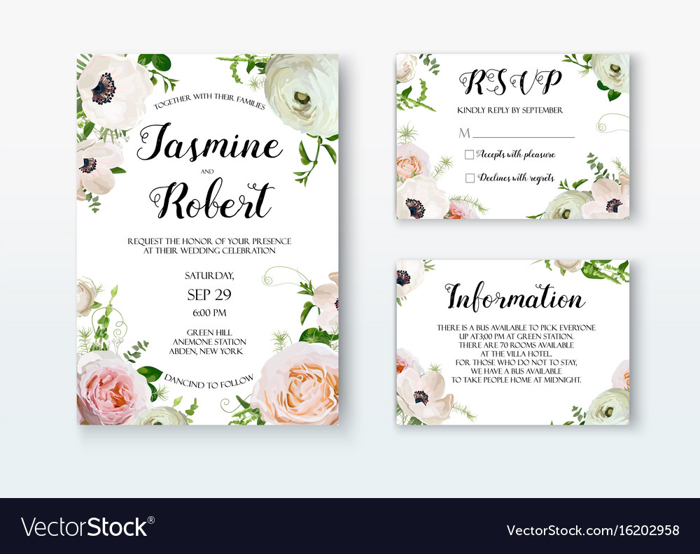 Wedding invitation invite card design with rose vector image wedding invitation invite card design with rose vector image monicamarmolfo Image collections