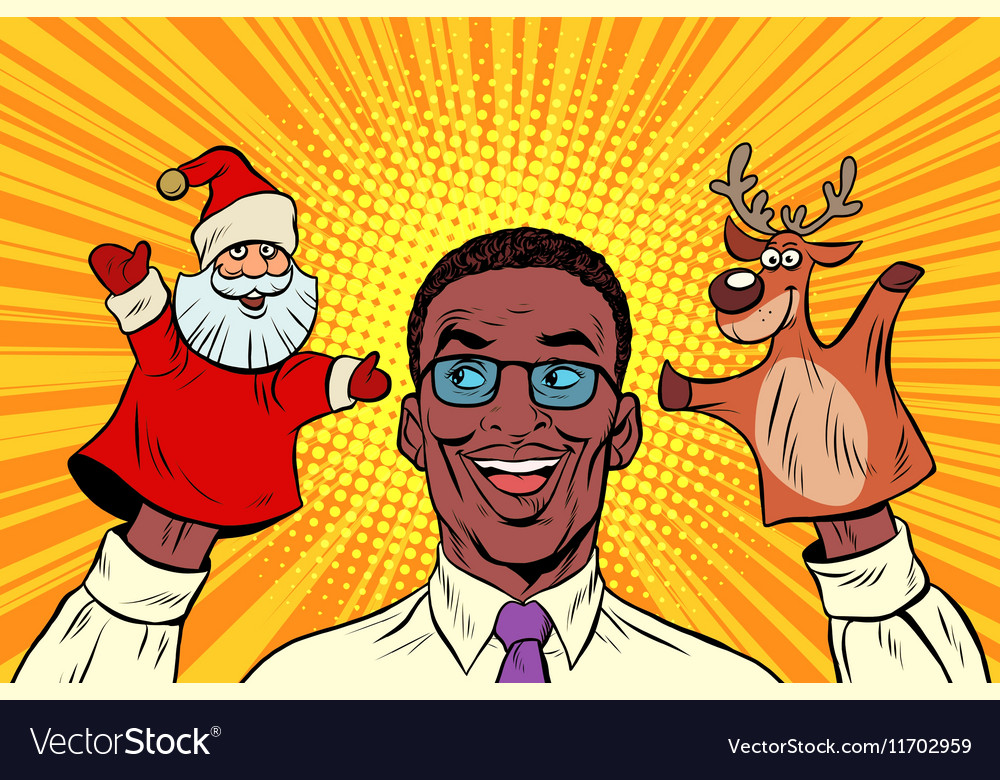 Happy dad a Christmas puppet theater vector image