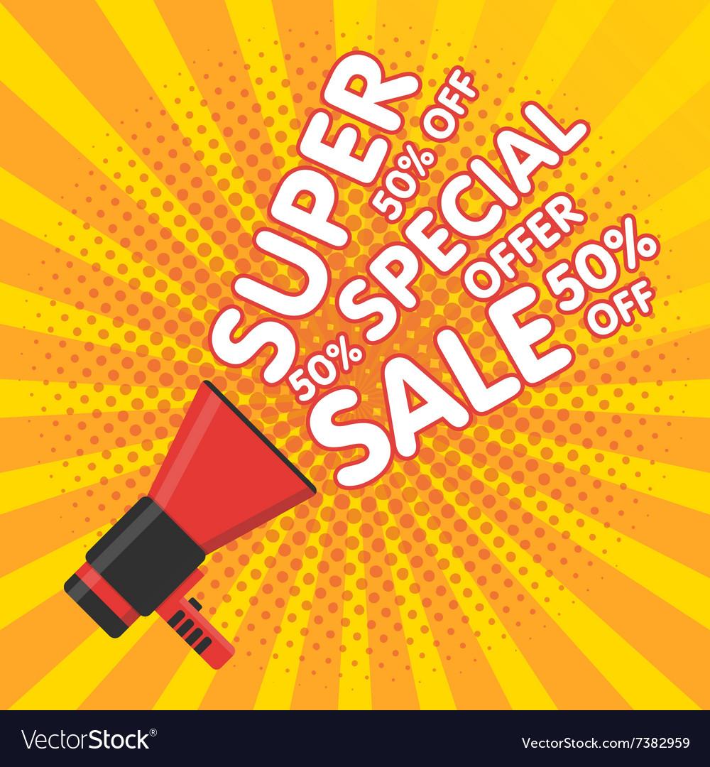 Super sale banner Announcement megaphone vector image