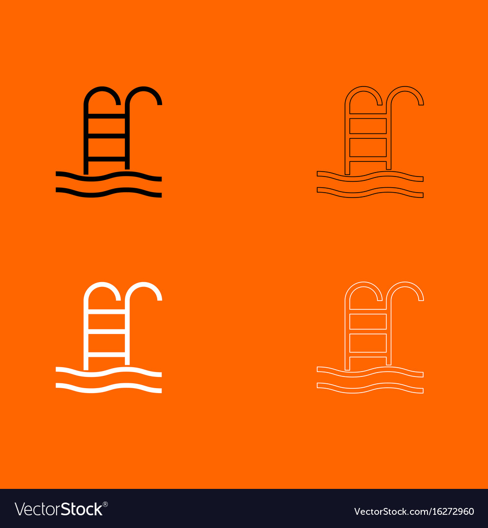 Pool black and white set icon vector image