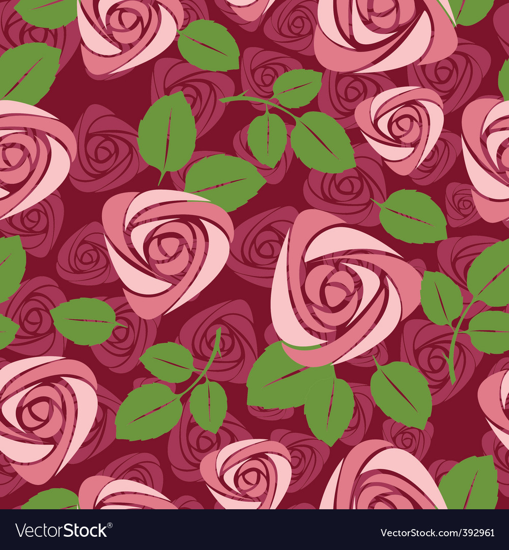 Seamless floral rose vector background vector image