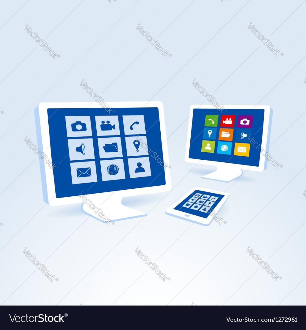 Copmutre desktop table pc set vector image